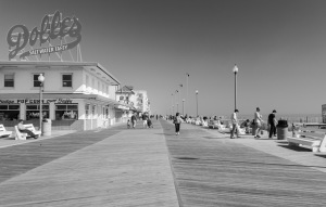 Rehoboth Beach Boardwalk in B&W